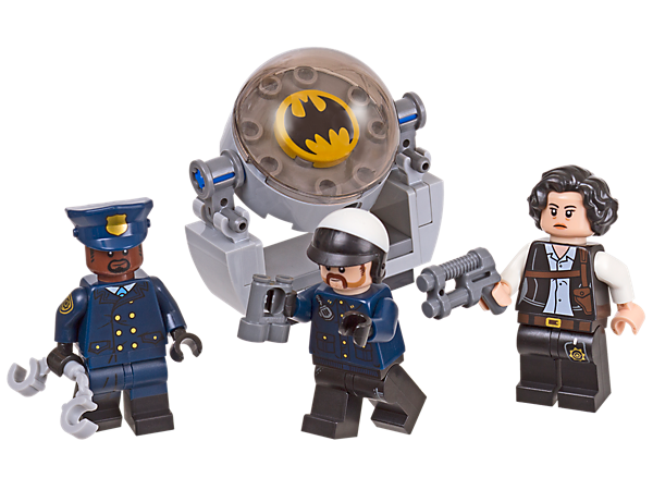 Help Chief O'Hara and GCPD officers patrol Gotham City with THE LEGO® BATMAN MOVIE Accessory Set, including 3 minifigures, weapons, accessory elements and a Bat-Signal.
