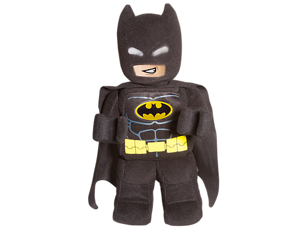 Keep Batman™ by your side with this up-scaled minifigure-style toy in brushed tricot fabric with silkscreen-printed decoration, Bat-shaped symbol, cape and embroidered face details.