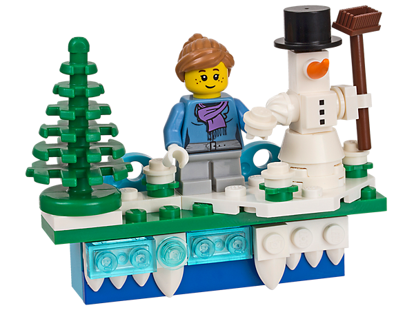 Create your own LEGO® winter holiday magnet with a buildable minifigure, snowman and Christmas tree.