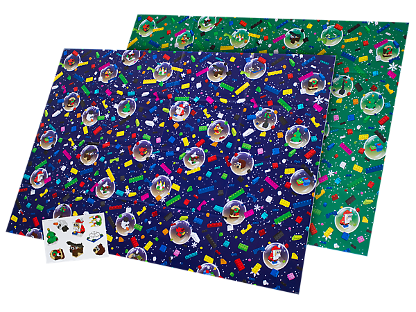 Use this LEGO® themed giftwrap for all your presents this holiday season, and have fun decorating them with a colorful selection of stickers.