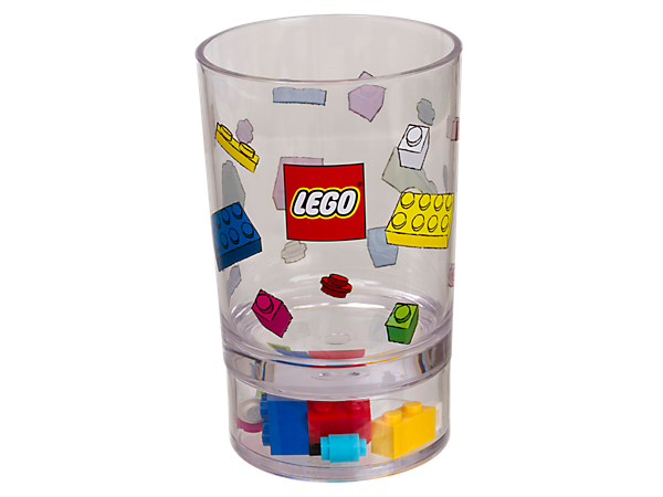 Take a sip from the LEGO® Iconic Tumbler, featuring brick print artwork on transparent plastic and colorful LEGO elements in the enclosed base.