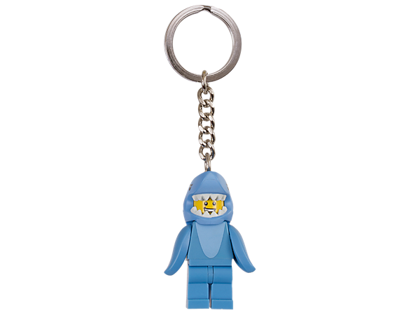 Turn the key on fun adventures with this Shark Suit Guy keyring, featuring an authentic LEGO® minifigure attached to a sturdy metal ring and chain.
