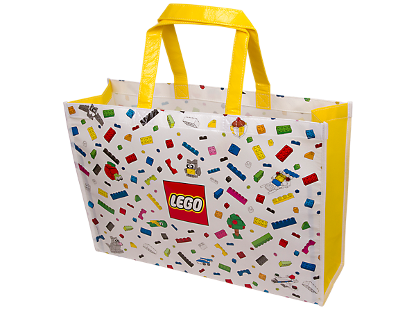 Shop until you drop with this large reusable LEGO® Shopper Bag, produced in a sturdy, non-woven laminated fabric printed with a colorful LEGO brick design.