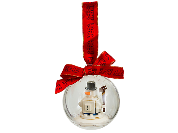 Give your Christmas tree a LEGO® twist with this decorative ornament, featuring a buildable snowman, clear bauble and a red ribbon for hanging.