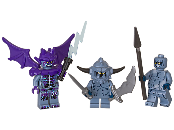 Send in the Stone monsters to scare off the LEGO® NEXO KNIGHTS™ heroes and spread mayhem across Knighton with this creepy accessory set! Includes 3 minifigures.