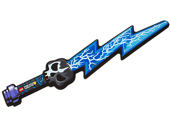 Play out exciting role-play battle scenes and charge ahead with the soft-foam LEGO® NEXO KNIGHTS™ Jestro's Sword with skull hilt and lightning blade design.