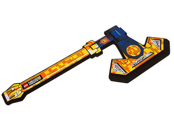 Defend the realm of Knighton just like heroic Axl with a giant soft-foam LEGO® NEXO KNIGHTS™ axe featuring futuristic decoration, and send Jestro and his army running!