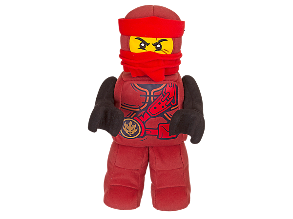 Hug ninja hero Kai with this up-scaled minifigure-style cuddly toy in brushed tricot fabric with silkscreen-printed ninja decoration and embroidered face details.