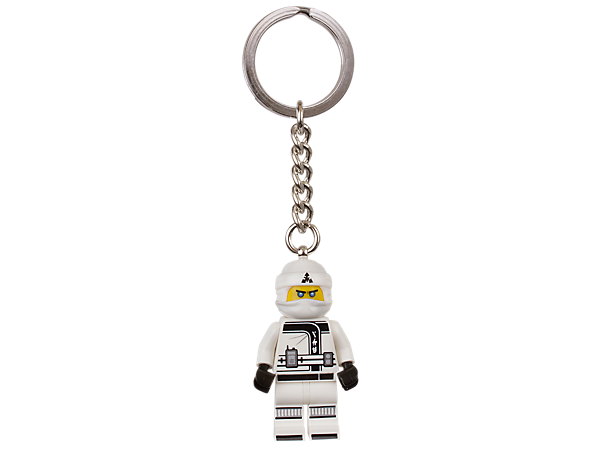 Be ninja with THE LEGO® NINJAGO® MOVIE™ Zane keyring, featuring a minifigure with sturdy metal ring and chain.