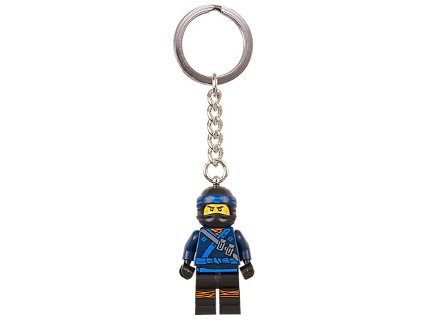 Patrol NINJAGO® world with THE LEGO® NINJAGO MOVIE™ Jay keyring, featuring a minifigure with sturdy metal ring and chain.