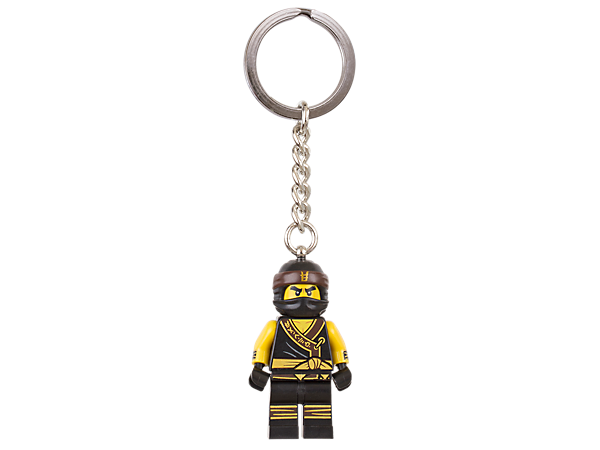 Learn the ways of the ninja with THE LEGO® NINJAGO® MOVIE™ Cole keyring, featuring a minifigure with sturdy metal ring and chain.