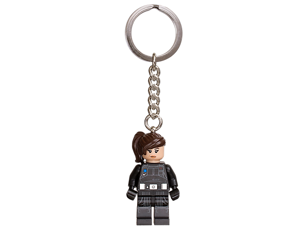 Help defeat the Empire with LEGO® Star Wars Jyn Erso, featuring a minifigure with Imperial ground crew disguise attached to a sturdy metal key chain.