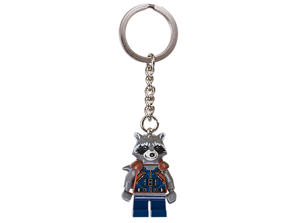 Roam the galaxy with a trusty raccoon by your side with this LEGO® Marvel Super Heroes Rocket keyring, featuring a minifigure with sturdy metal ring and chain.