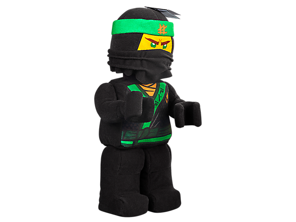 Lead the ninja team with the Lloyd Minifigure Plush, an up-scaled minifigure-style toy in brushed tricot fabric with paper-print decoration and face details.