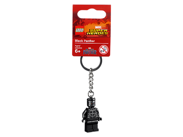 Gear up for thrilling adventures with this LEGO® Marvel Super Heroes Black Panther Key Chain, featuring a minifigure with sturdy metal ring and chain.