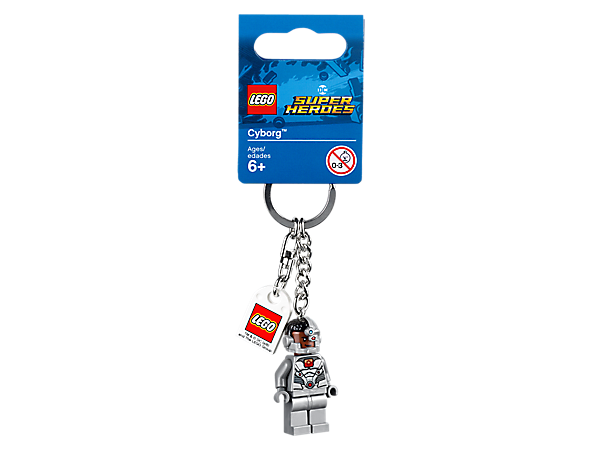 Team up with a cybernetic super hero with this LEGO® DC Super Heroes Cyborg™ Keyring, featuring a minifigure with sturdy metal ring, chain and LEGO tag.
