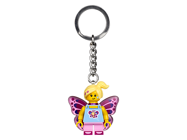 Beautify your keys or backpack with this colourful LEGO® Butterfly Girl Keyring, featuring a minifigure with sturdy metal ring and chain.