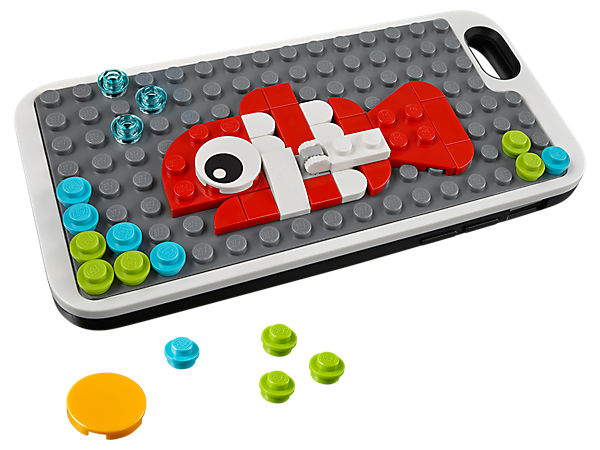 Protect your phone with this customizable LEGO® Phone Cover with Studs, featuring an integrated baseplate, 47 loose LEGO elements and a display arm.