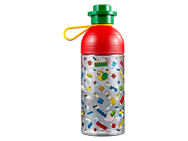 Enjoy your favorite beverages from this 500ml LEGO® Hydration Bottle with colorful LEGO print, LEGO brick-style screw cap and a silicone carry strap.