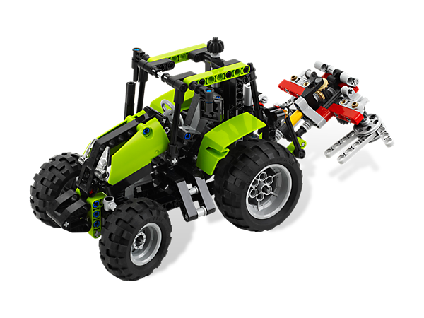 Fire up the 2-in-1 Tractor to shred through the fields with working steering and a detachable tool that spins, then rebuild into a buggy!