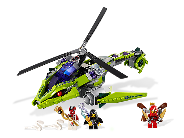 Battle Lloyd Garmadon and Fang-Suei in his Rattlecopter with Kai and his fire-powered jetpack for the Constrictai staff and the anti-venom!