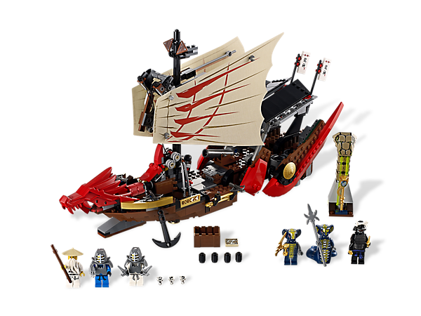 Battle for the fate of the Ninjago world onboard an ancient flying shipwreck and survive the snake ambush!