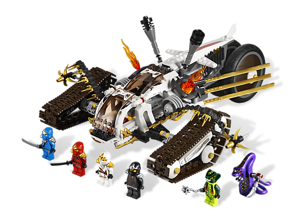 Defend the fang blade with the Ultra Sonic Raider's all-terrain tracks, detachable flying vehicle, golden blade wings and 9 weapons!