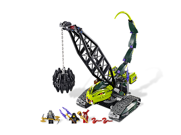 Swipe the staff from Fangdam on the Fangpyre Wrecking Ball with whipping tail, biting snake jaws, working treads and opening cockpit!