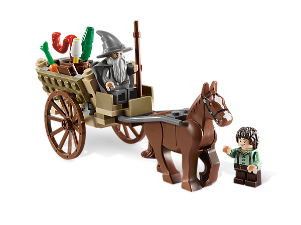 Collect an iconic scene from the The Lord of the Rings film series as you build the Shire with Gandalf the Grey and Frodo!