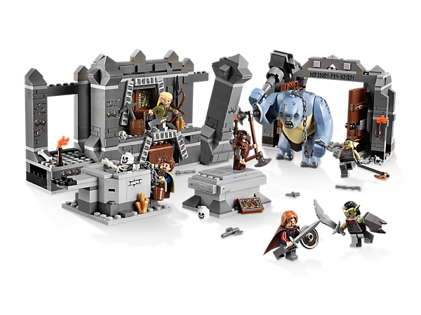 Defeat the giant cave troll with 6 minifigures at The Mines of Moria, packed with realistic details, hidden features and action functions!