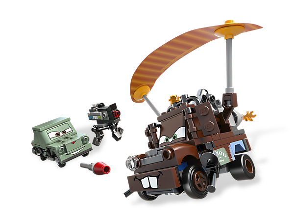 Parachute Agent Mater safely away from the evil lemon Petrov Trunkov in a scene from Disney® Pixar® Cars™!