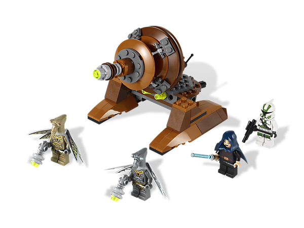 Battle for control of Geonosis with the powerful Geonosian Cannon, flick missiles, 4 minifigures and 4 weapons!