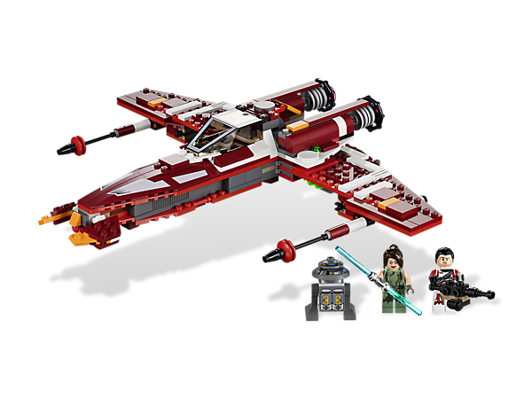 Sweep the wings of the Republic Striker-class Starfighter into attack mode to repel the forces of the Sith Empire with 3 all-new minifigures!