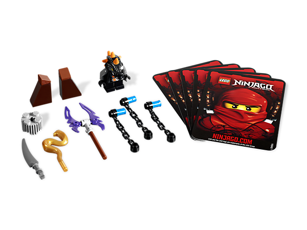 Prepare to battle the ninja masters with 4 battle cards and Bytar, armed with fang blades, shields and a golden weapon!